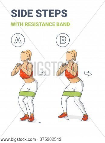 Girl Side Or Lateral Walk With Resistance Band Exercise Colorful Concept