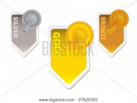Gold silver and bronze ribbons with paper tab and shadow