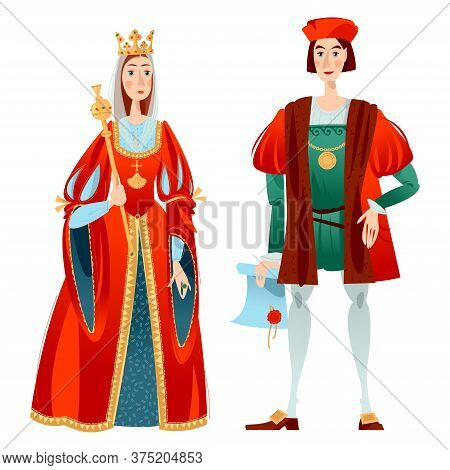 History Of Spain. Famous People. Isabella I Of Castile And Christopher Columbus. Vector Illustration