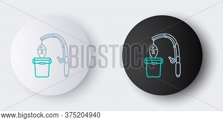 Line Fishing Rod And Fish Icon Isolated On Grey Background. Put Fish Into A Bucket. Fishing Equipmen