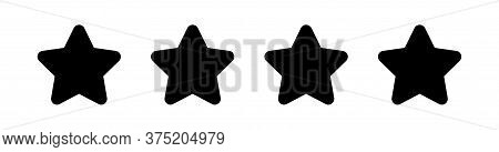 4 Stars Icon Isolated On White, Star Shape Black, Illustration Simple Star Rating Symbol