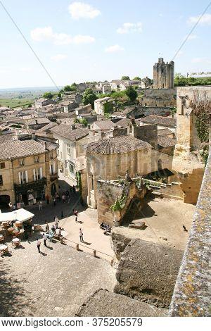 Saint Emilion , Aquitaine / France - 10 23 2019 : Cityscape Of Saint-emilion Town Unesco Heritage Si