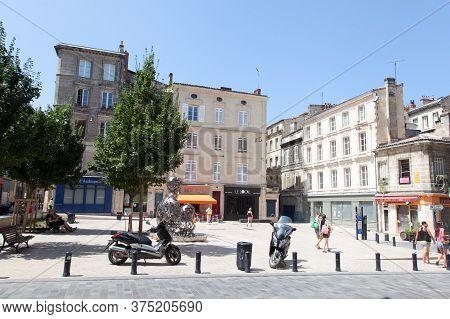 Bordeaux , Aquitaine / France - 10 30 2019 : Bordeaux City Ancient Center Square Place Saint Pierre