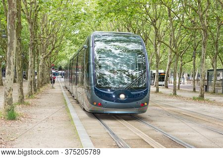 Bordeaux, Aquitaine / France - 06 11 2018 : Tram Is Passing By Downtown In Bordeaux France Aquitaine