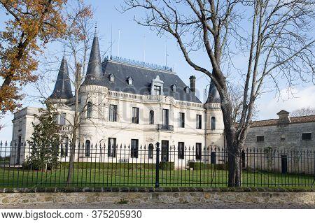 Margaux, Bordeaux France - December 12 2018 - Chateau Palmer Is One Of Famous Wine Estate Of Bordeau