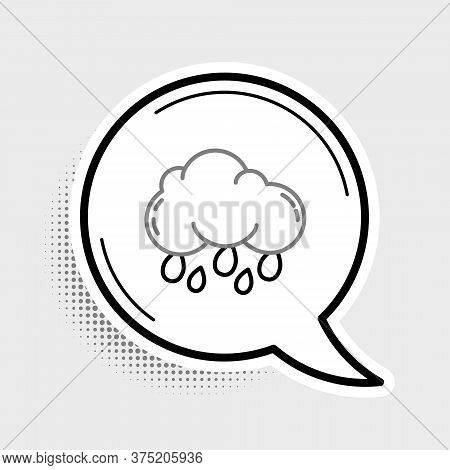 Line Cloud With Rain Icon Isolated On Grey Background. Rain Cloud Precipitation With Rain Drops. Col