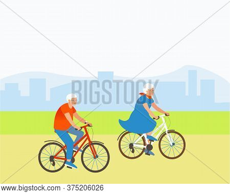 Aged Couple Rides Bicycles In A Park Outside The City. Grandparents Are Actively Spending Summer Tim