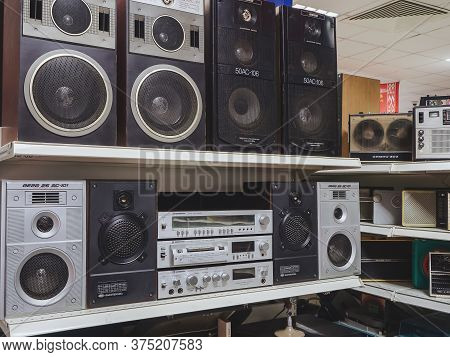 Russia, Sochi 14.03.2020. The Soviet Music Center With Large Speakers And Other Radio Equipment Are