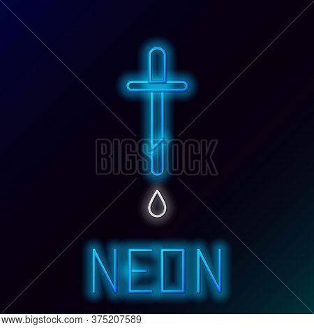 Glowing Neon Line Pipette Icon Isolated On Black Background. Element Of Medical, Chemistry Lab Equip