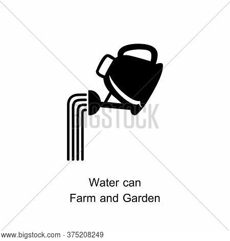 Watering Can With Water Drops Icon. Vector Watering Can With Water Drops Icon Isolated On White Back