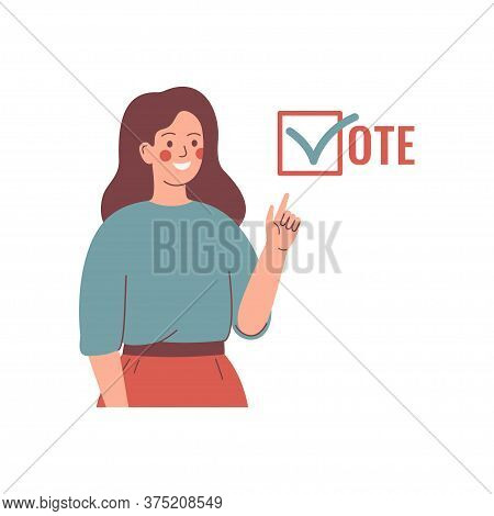 Voting And Election Concept. Young Woman Activist Is Calling For Votes. Pre-election Campaign.