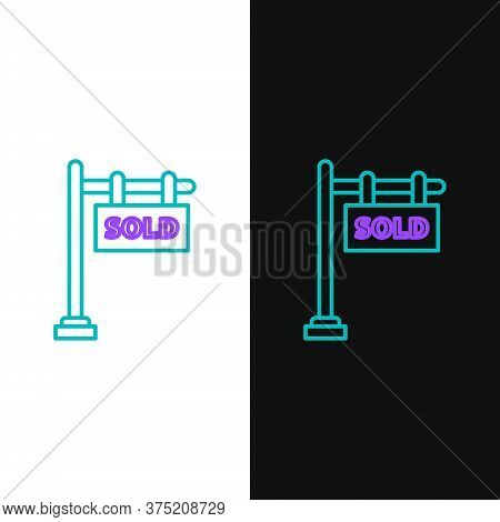 Line Hanging Sign With Text Sold Icon Isolated On White And Black Background. Sold Sticker. Sold Sig