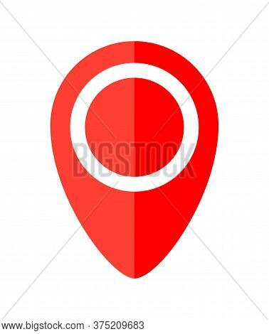Red Pin Point Symbol Simple Red For Icon Isolated On White, Modern Pin Circle For Location Icon Mark