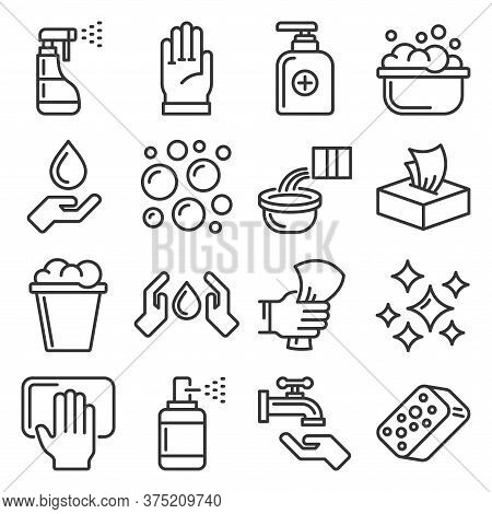 Sanitation Ans Clean Icons Set On White Background. Line Style Vector
