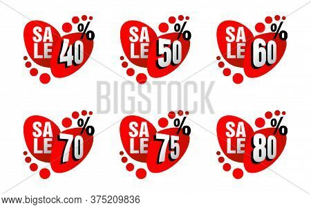 Sales Tag With Abstract Style And Different Percentage - 40, 50, 60, 60, 75, 80
