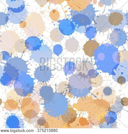 Paint Transparent Grunge Stains Vector Seamless Pattern. Vintage Colored Ink Splatter, Spray Blots,