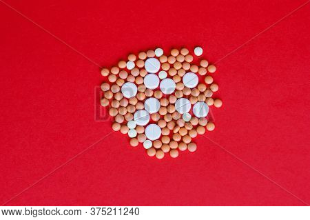 Assorted Pharmaceutical Medicine Pills, Tablets And Capsules. Heap Of Assorted Various Medicine Tabl
