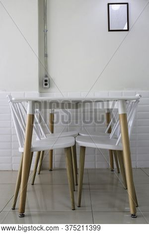 Interior Classic Wooden Table And Chairs, Stock Photo