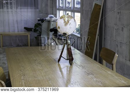 Vintage Globe Decorated On Top Of The Table, Stock Photo