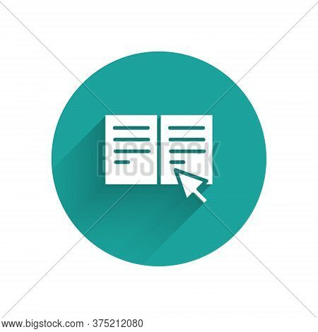 White Online Book Icon Isolated With Long Shadow. Internet Education Concept, E-learning Resources,