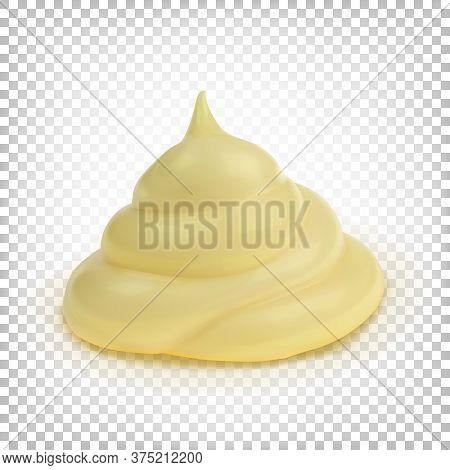 Cream, Mayonnaise, Thick Yellow Sauce. Vector 3d Illustration Isolated On White Transparent Backgrou