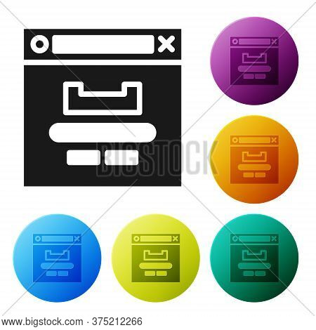 Black Browser Window Icon Isolated On White Background. Set Icons In Color Circle Buttons. Vector