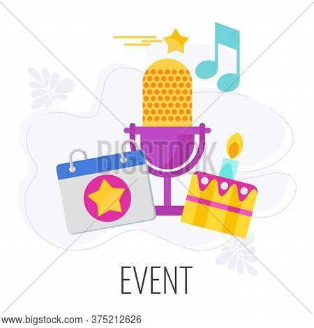 Event Icon. Marketing Company Between Company And Client. Increasing Loyalty And Engagement, Market