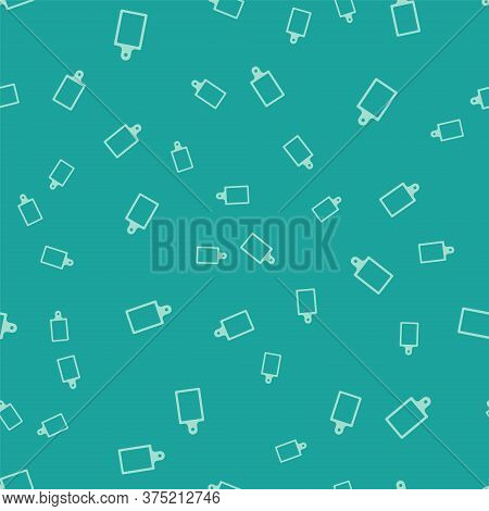 Green Cutting Board Icon Isolated Seamless Pattern On Green Background. Chopping Board Symbol. Vecto