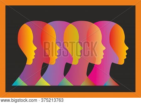 Different Profiles Or The Same. Abstract Silhoutte. Vector Illustration.