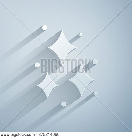 Paper Cut Firework Icon Isolated On Grey Background. Concept Of Fun Party. Explosive Pyrotechnic Sym