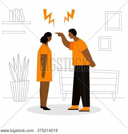 Adult African Man And Woman Quarrel. Concept Of Family Conflicts, Resentment, Aggression, Divorce. H