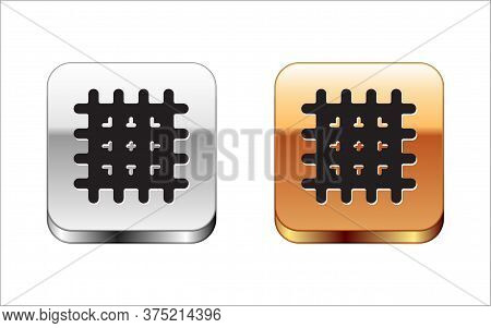 Black Cracker Biscuit Icon Isolated On White Background. Sweet Cookie. Silver-gold Square Button. Ve