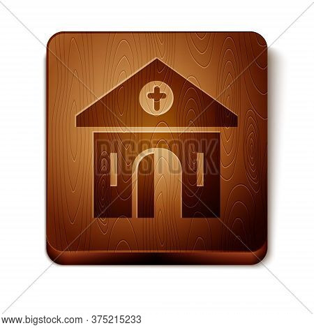 Brown Church Building Icon Isolated On White Background. Christian Church. Religion Of Church. Woode