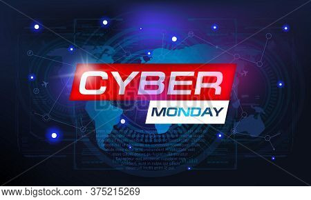 Cyber Monday Sale Banner. Abstract Techno Background Digital Technology. Digital Internet Technology