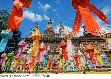Yee Peng Festival (yi Peng) Chiang Mai. Paper Lanterns Decorated In Jed-yod Temple.
