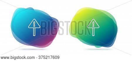 Set Line Exclamation Mark In Triangle Icon Isolated On White Background. Hazard Warning Sign, Carefu