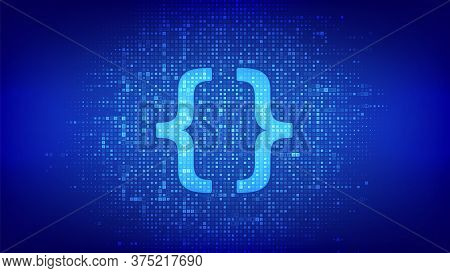 Programming Code. Coding Or Hacker Background. Programming Code Icon Made With Binary Code. Digital