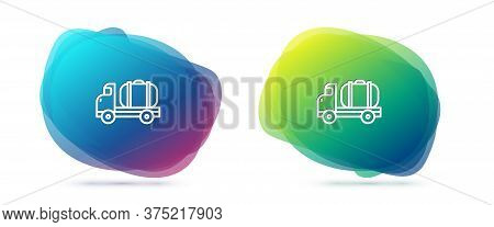 Set Line Tanker Truck Icon Isolated On White Background. Petroleum Tanker, Petrol Truck, Cistern, Oi