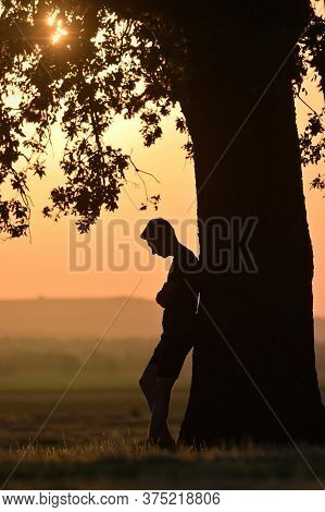 Closeup Portrait Young Man Alone At Sunset