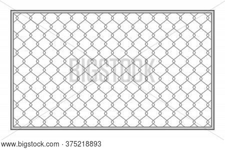 Metal Fence Wire Mesh Isolated On White Background, Net Fence Silver Steel, Mesh Silver Object, Iron