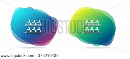 Set Line Jurors Icon Isolated On White Background. Abstract Banner With Liquid Shapes. Vector Illust