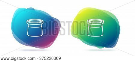 Set Line Magician Hat Icon Isolated On White Background. Magic Trick. Mystery Entertainment Concept.