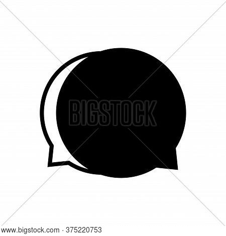 Speech Balloon Circle Isolated On White, Speech Bubble Sign Of Communication Symbol, Black Speech Bu