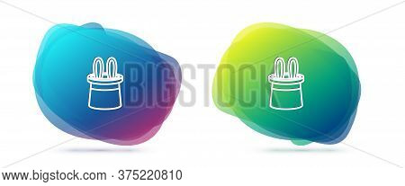 Set Line Magician Hat And Rabbit Ears Icon Isolated On White Background. Magic Trick. Mystery Entert