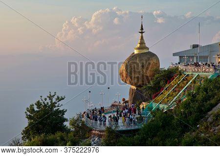 Kyaiktiyo, Myanmar - Nov 04, 2019: Kyaiktiyo Pagoda Also Known As Golden Rock Is A Well-known Buddhi