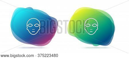Set Line Alien Icon Isolated On White Background. Extraterrestrial Alien Face Or Head Symbol. Abstra