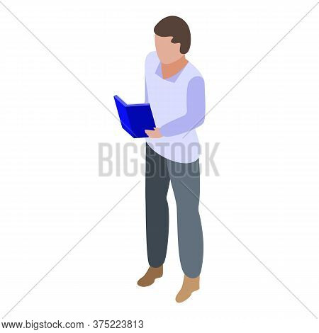 Boy Read Book Icon. Isometric Of Boy Read Book Vector Icon For Web Design Isolated On White Backgrou