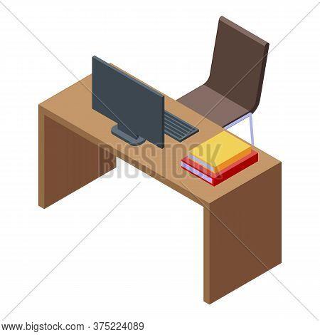 Library Reading Desktop Icon. Isometric Of Library Reading Desktop Vector Icon For Web Design Isolat