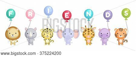 Group Of Cute Animals. Cartoon Animals Stand And Hold Balloons In Their Hands. World Animals Day. Ha