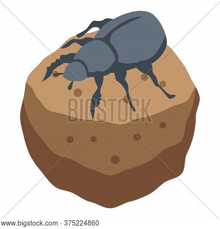 Ground Scarab Icon. Isometric Of Ground Scarab Vector Icon For Web Design Isolated On White Backgrou